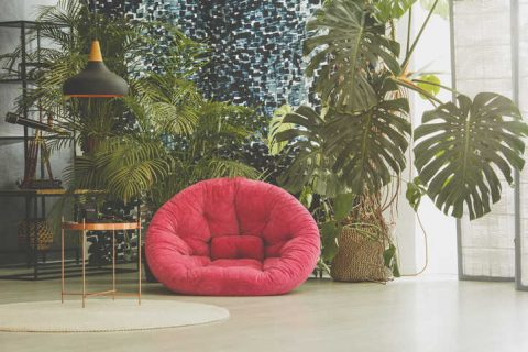 A pink beanbag chair surrounded by furniture and big plants, including a monstera