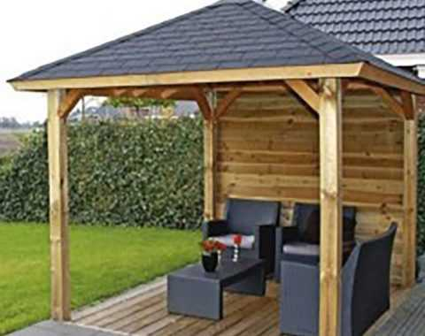 Artificial grass and garden gazebo