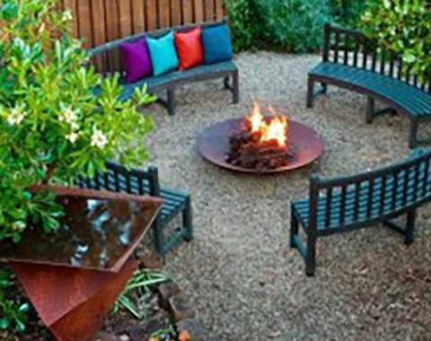 Fire Pit surrounded by benches
