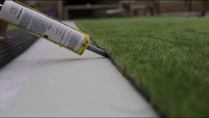 glueing artificial grass with glue gun