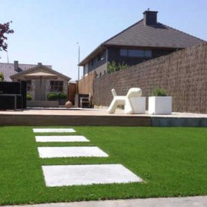 Artificial grass lawn with paving
