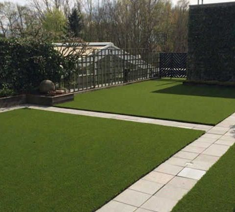 artificial grass with stone paving