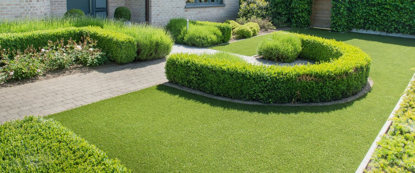Artificial grass with bushes