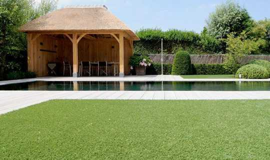 Pool with artificial grass surround