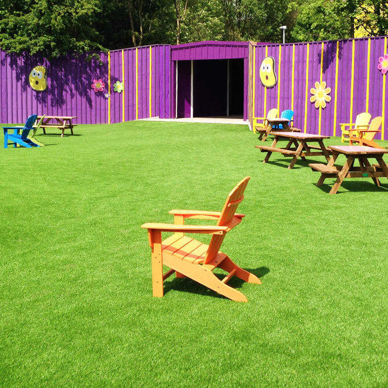 fake grass laid at alton towers theme park