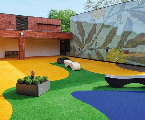 patterned Artificial grass school play area
