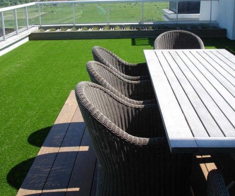 Artificial grass on balcony