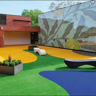yellow blue and green fake grass in school