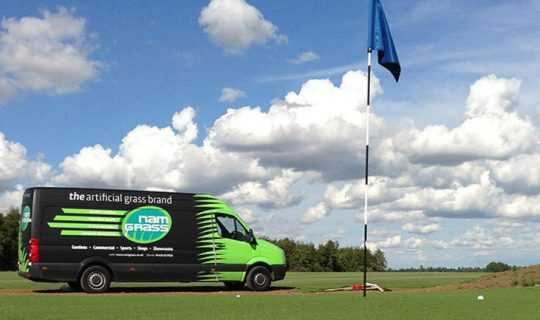 namgrass artificial grass delivery van at golf course