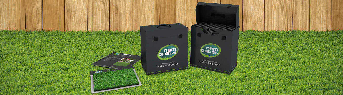 installer sample box for artificial grass products