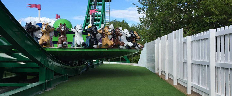 fake grass at theme park
