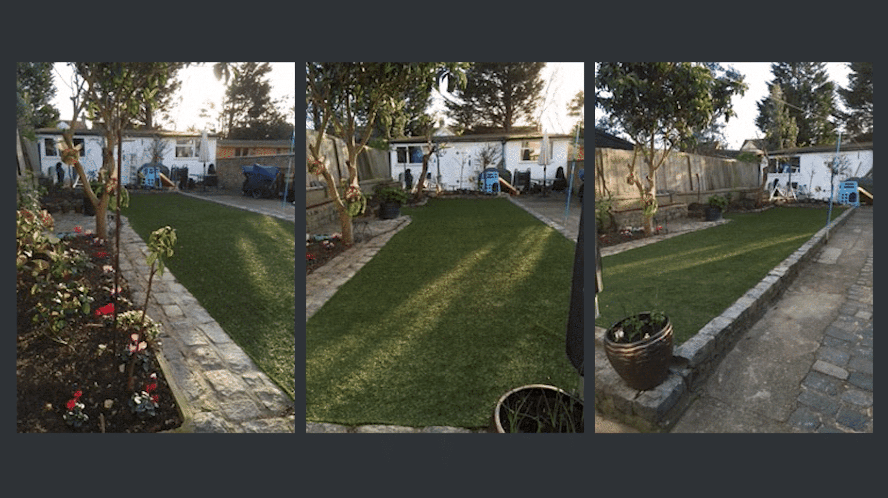 Family garden laid with artificial grass