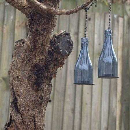 Glass bottles hanging from tree