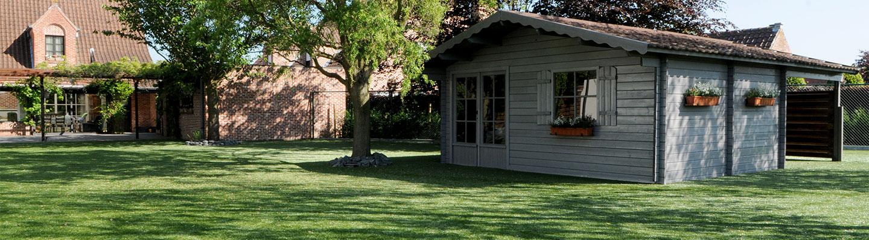 Quaint summer house and fake grass