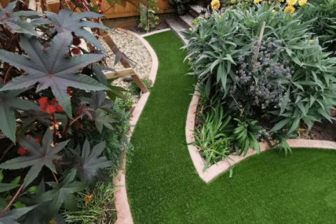 to show an awkward shape artificial grass install