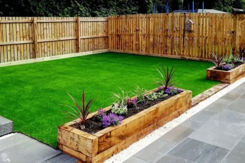 fake grassl aid in back garden