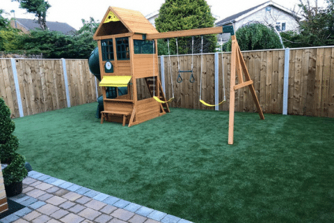 kids play area with fake grass