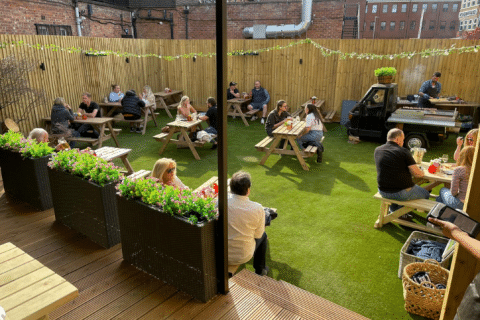 artificial grass outdoor pub seating area